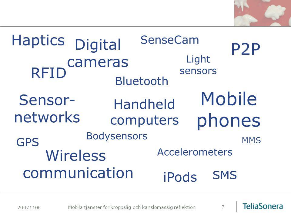 20071106 Mobila tjänster för kroppslig och känslomässig reflektion 8 En andra IT-revolution Spridning av mobila tjänster, tillgängliga överallt, kommer att ha en om möjligt ännu mer genomgripande effekt på näringslivet och det sociala livet än Internetrevolutionen