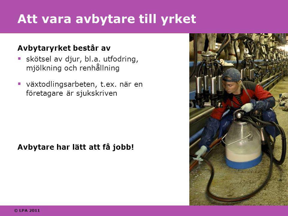© LPA 2011 Att vara avbytare till yrket Avbytaryrket består av  skötsel av djur, bl.a.