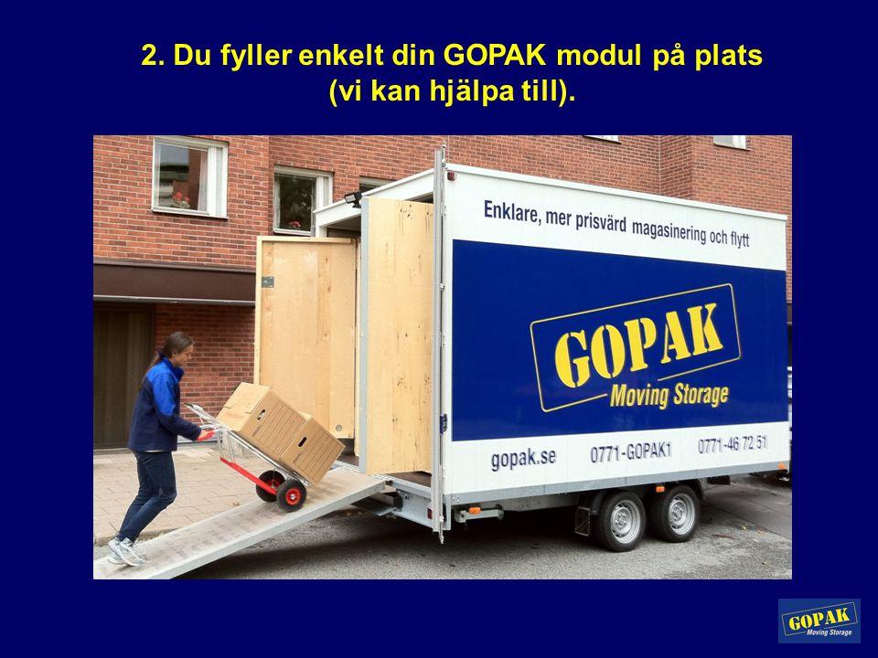 2. Du fyller enkelt din GOPAK modul på plats (vi kan hjälpa till).