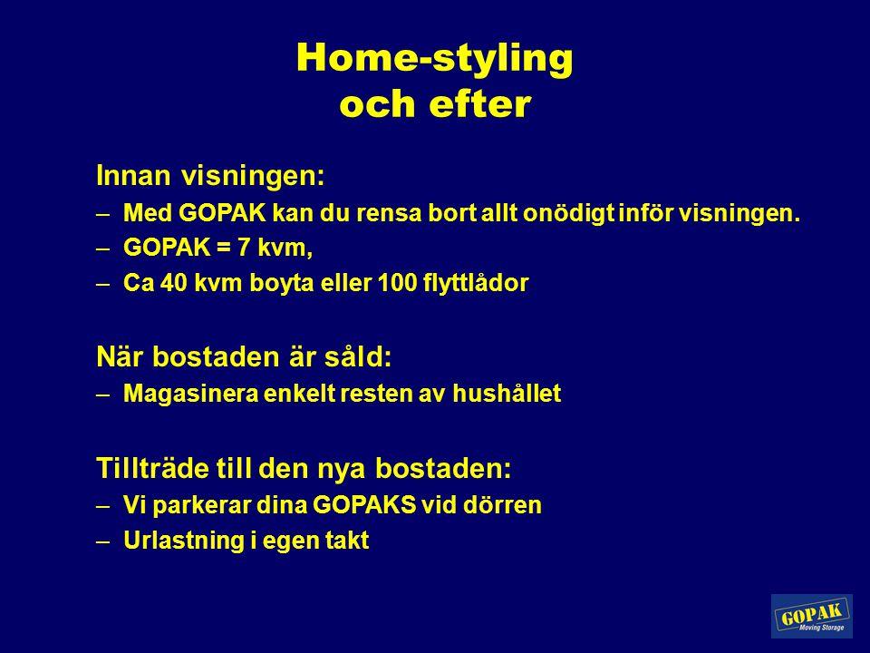 Home-styling och efter Innan visningen: –Med GOPAK kan du rensa bort allt onödigt inför visningen. –GOPAK = 7 kvm, –Ca 40 kvm boyta eller 100 flyttlåd
