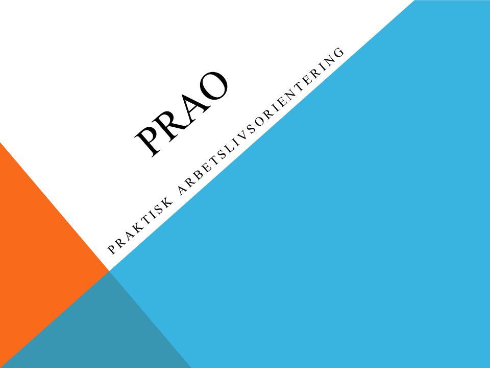 PRAO PRAKTISK ARBETSLIVSORIENTERING