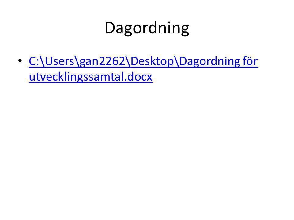 Dagordning C:\Users\gan2262\Desktop\Dagordning för utvecklingssamtal.docx C:\Users\gan2262\Desktop\Dagordning för utvecklingssamtal.docx