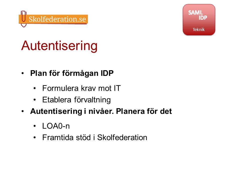 Autentisering Plan för förmågan IDP Formulera krav mot IT Etablera förvaltning Autentisering i nivåer. Planera för det LOA0-n Framtida stöd i Skolfede