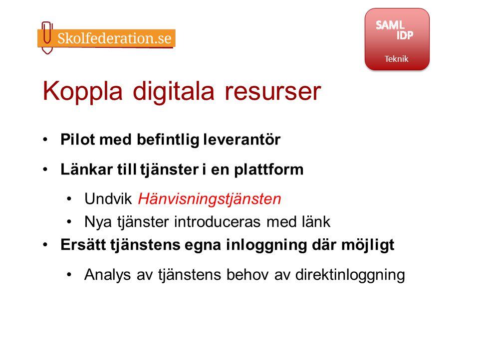 Koppla digitala resurser Pilot med befintlig leverantör Länkar till tjänster i en plattform Undvik Hänvisningstjänsten Nya tjänster introduceras med l