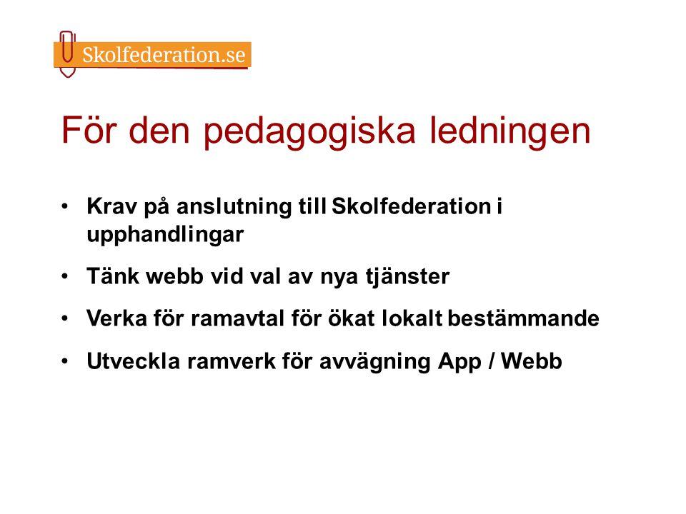 För den pedagogiska ledningen Krav på anslutning till Skolfederation i upphandlingar Tänk webb vid val av nya tjänster Verka för ramavtal för ökat lok