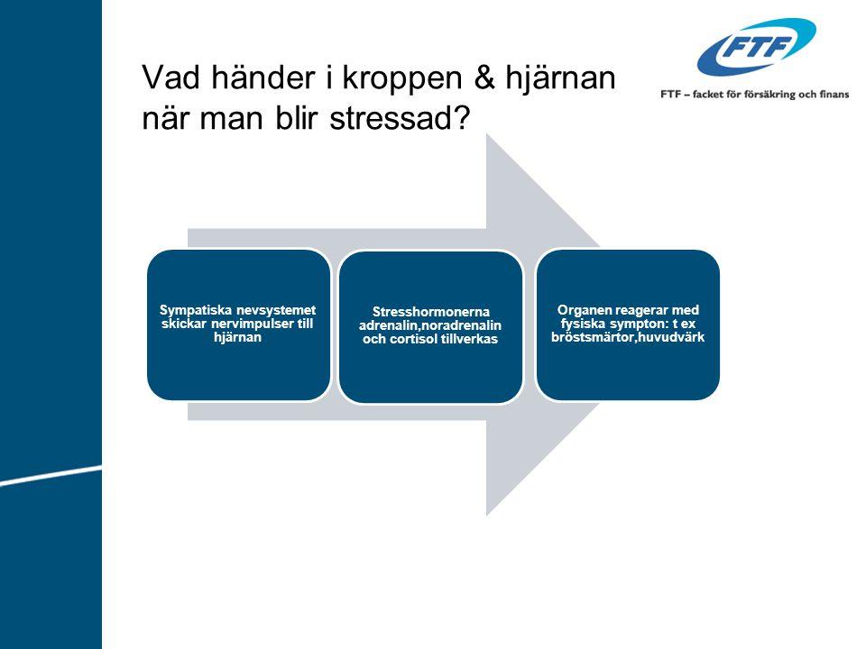 Vad händer i kroppen & hjärnan när man blir stressad? Sympatiska nevsystemet skickar nervimpulser till hjärnan Stresshormonerna adrenalin,noradrenalin