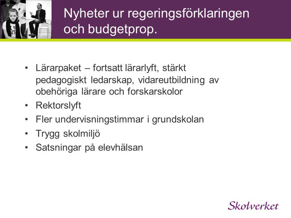 Nyheter ur regeringsförklaringen och budgetprop.