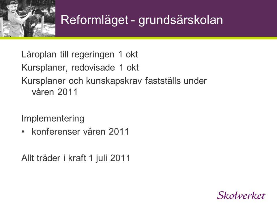 Reformläget - grundsärskolan Läroplan till regeringen 1 okt Kursplaner, redovisade 1 okt Kursplaner och kunskapskrav fastställs under våren 2011 Imple