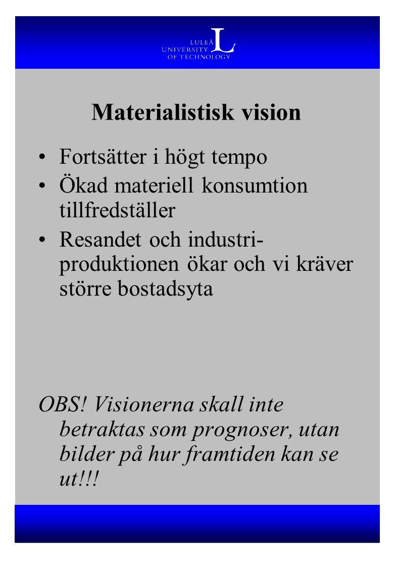 Materialistisk vision Fortsätter i högt tempo Ökad materiell konsumtion tillfredställer Resandet och industri- produktionen ökar och vi kräver större