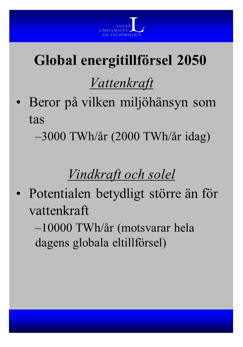 Vattenkraft Beror på vilken miljöhänsyn som tas –3000 TWh/år (2000 TWh/år idag) Vindkraft och solel Potentialen betydligt större än för vattenkraft –1