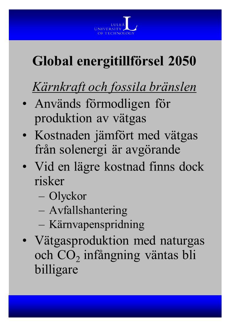 Kärnkraft och fossila bränslen Används förmodligen för produktion av vätgas Kostnaden jämfört med vätgas från solenergi är avgörande Vid en lägre kost