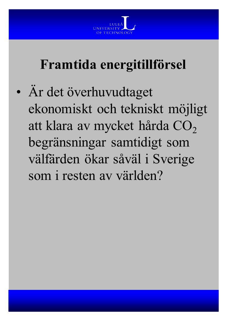 Framtida energitillförsel Är det överhuvudtaget ekonomiskt och tekniskt möjligt att klara av mycket hårda CO 2 begränsningar samtidigt som välfärden ö