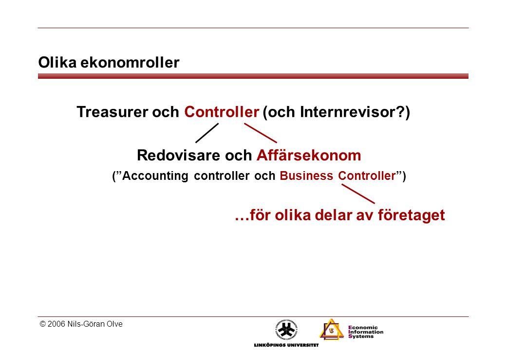 © 2006 Nils-Göran Olve Treasurer och Controller (och Internrevisor?) Redovisare och Affärsekonom ( Accounting controller och Business Controller ) …för olika delar av företaget Olika ekonomroller