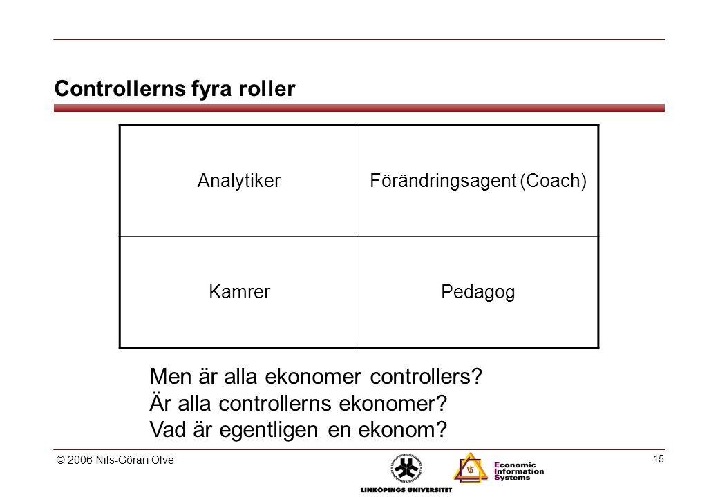 © 2006 Nils-Göran Olve 15 Controllerns fyra roller AnalytikerFörändringsagent (Coach) KamrerPedagog Men är alla ekonomer controllers.