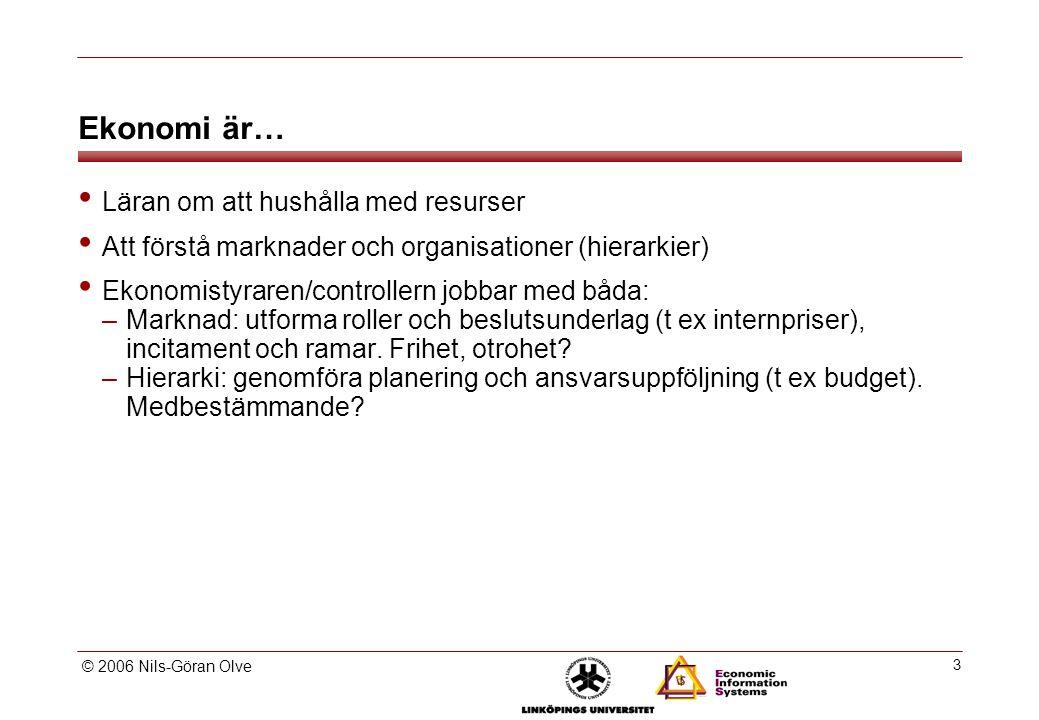 © 2006 Nils-Göran Olve 3 Ekonomi är… Läran om att hushålla med resurser Att förstå marknader och organisationer (hierarkier) Ekonomistyraren/controllern jobbar med båda: –Marknad: utforma roller och beslutsunderlag (t ex internpriser), incitament och ramar.