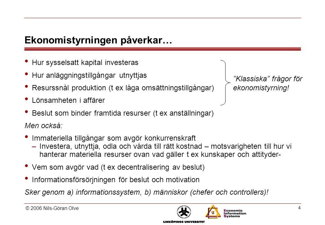 © 2006 Nils-Göran Olve 4 Ekonomistyrningen påverkar… Hur sysselsatt kapital investeras Hur anläggningstillgångar utnyttjas Resurssnål produktion (t ex låga omsättningstillgångar) Lönsamheten i affärer Beslut som binder framtida resurser (t ex anställningar) Men också: Immateriella tillgångar som avgör konkurrenskraft –Investera, utnyttja, odla och vårda till rätt kostnad – motsvarigheten till hur vi hanterar materiella resurser ovan vad gäller t ex kunskaper och attityder- Vem som avgör vad (t ex decentralisering av beslut) Informationsförsörjningen för beslut och motivation Sker genom a) informationssystem, b) människor (chefer och controllers).