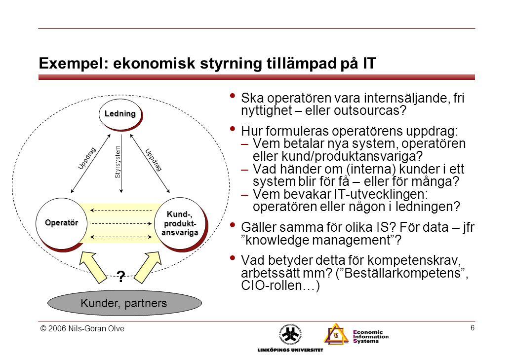 © 2006 Nils-Göran Olve 6 Exempel: ekonomisk styrning tillämpad på IT Ska operatören vara internsäljande, fri nyttighet – eller outsourcas.