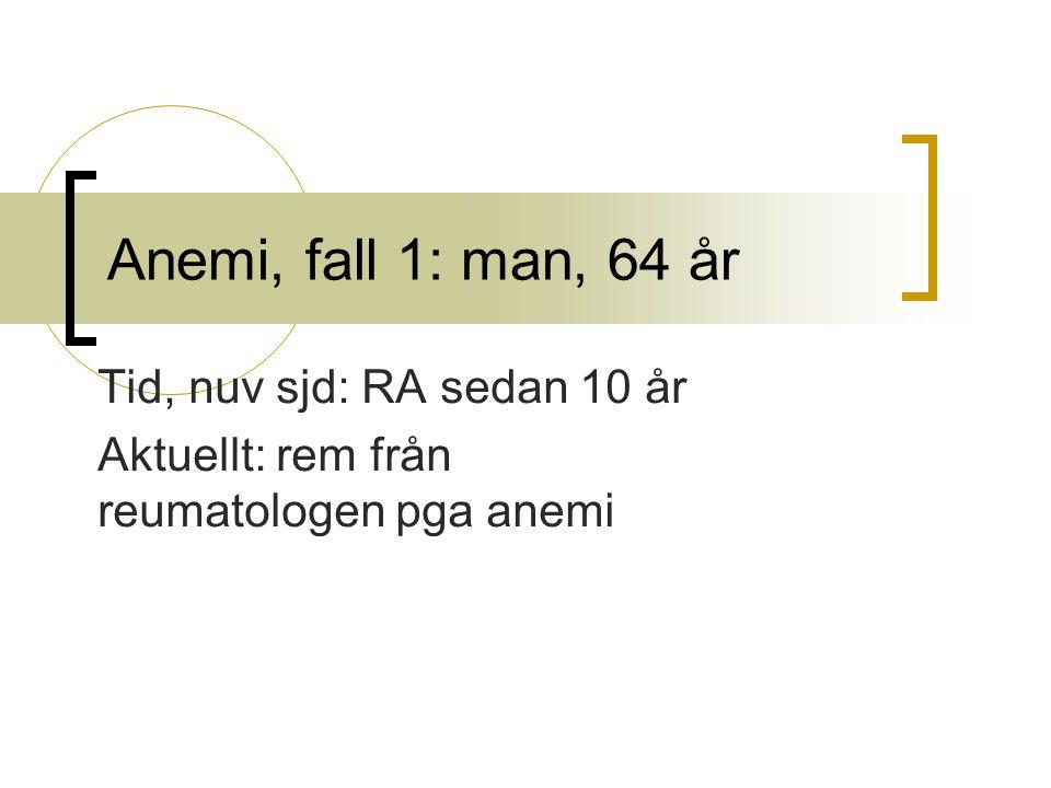 Anemi, fall 1: man, 64 år Tid, nuv sjd: RA sedan 10 år Aktuellt: rem från reumatologen pga anemi