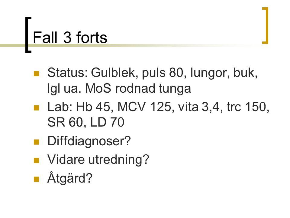 Fall 3 forts Status: Gulblek, puls 80, lungor, buk, lgl ua.