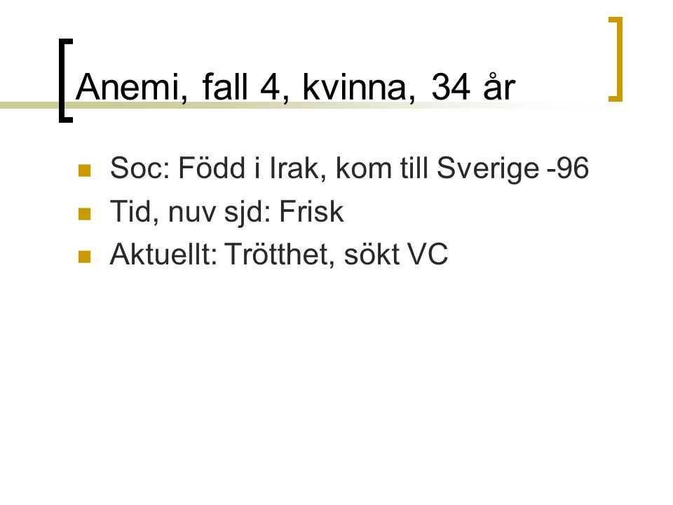 Anemi, fall 4, kvinna, 34 år Soc: Född i Irak, kom till Sverige -96 Tid, nuv sjd: Frisk Aktuellt: Trötthet, sökt VC