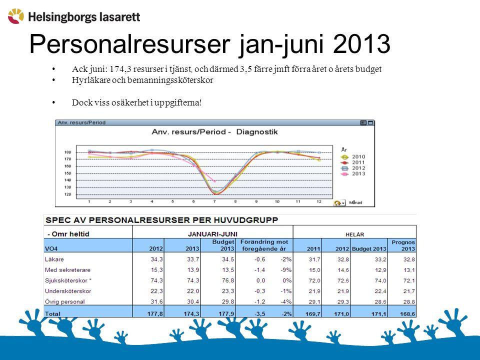 Personalresurser jan-juni 2013 Ack juni: 174,3 resurser i tjänst, och därmed 3,5 färre jmft förra året o årets budget Hyrläkare och bemanningssköterskor Dock viss osäkerhet i uppgifterna!