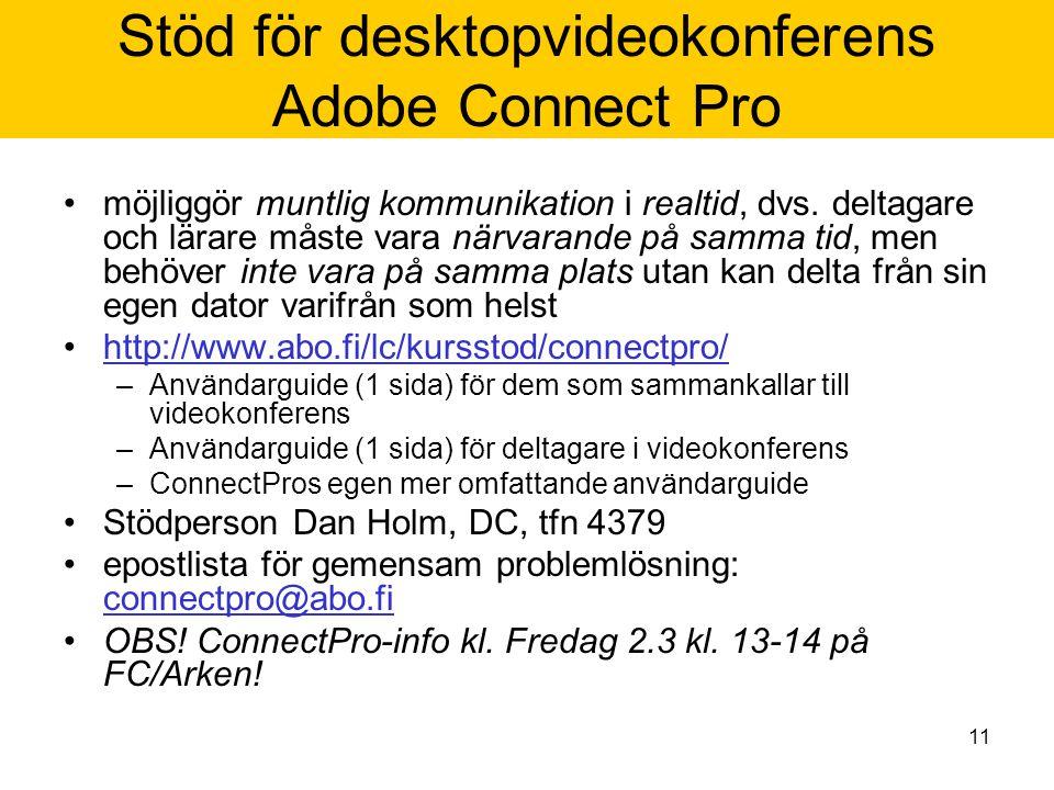 11 Stöd för desktopvideokonferens Adobe Connect Pro möjliggör muntlig kommunikation i realtid, dvs.