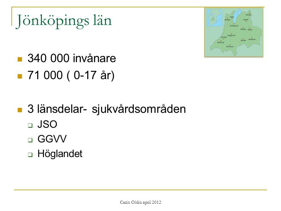 340 000 invånare 71 000 ( 0-17 år) 3 länsdelar- sjukvårdsområden  JSO  GGVV  Höglandet Carin Oldin april 2012