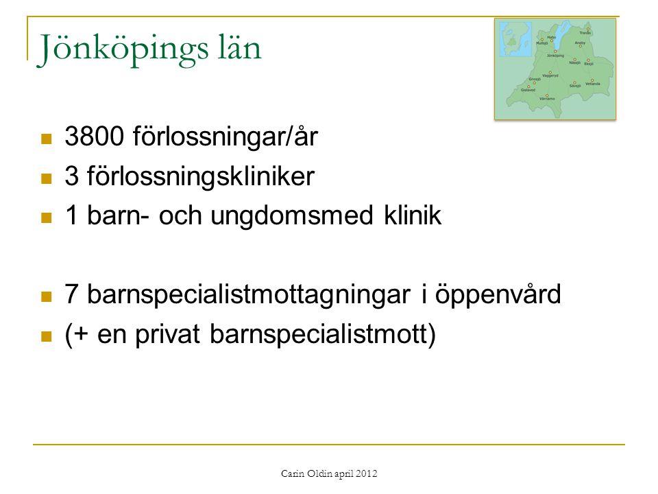 Jönköpings län 3800 förlossningar/år 3 förlossningskliniker 1 barn- och ungdomsmed klinik 7 barnspecialistmottagningar i öppenvård (+ en privat barnspecialistmott)