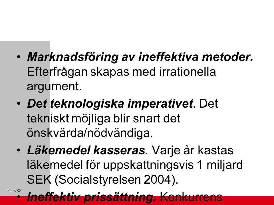2006/KS Marknadsföring av ineffektiva metoder. Efterfrågan skapas med irrationella argument. Det teknologiska imperativet. Det tekniskt möjliga blir s