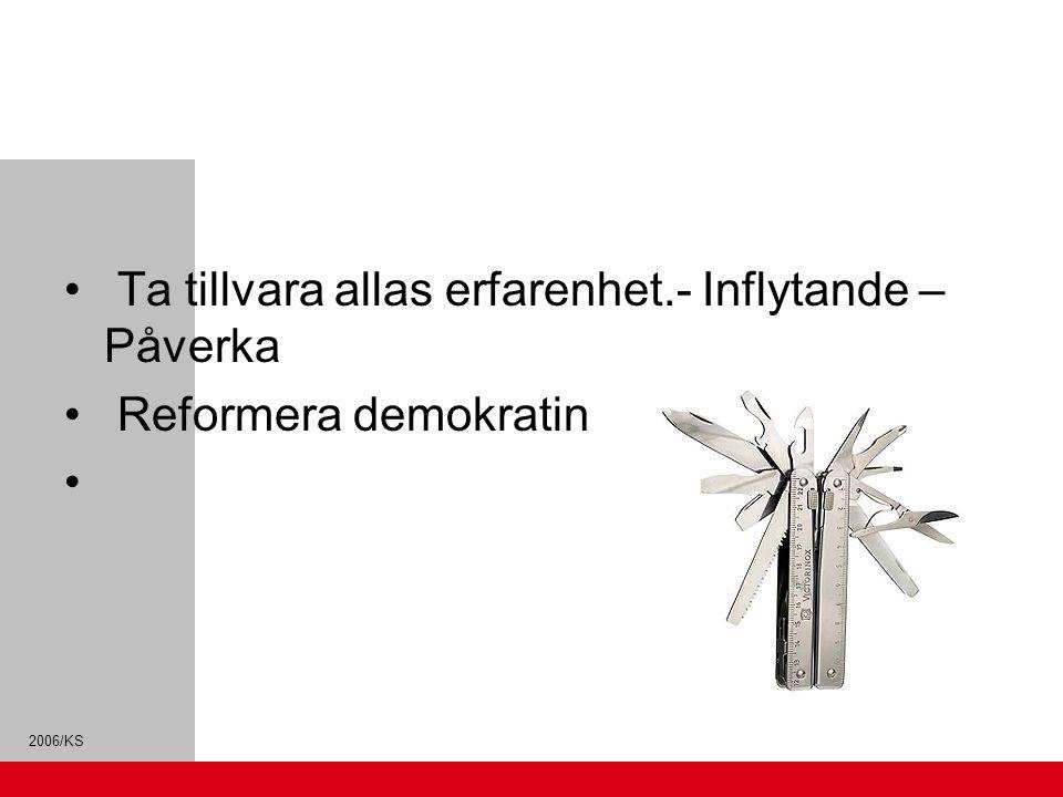 2006/KS Ta tillvara allas erfarenhet.- Inflytande – Påverka Reformera demokratin