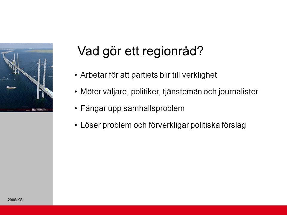 2006/KS Arbetar för att partiets blir till verklighet Möter väljare, politiker, tjänstemän och journalister Fångar upp samhällsproblem Löser problem och förverkligar politiska förslag Vad gör ett regionråd