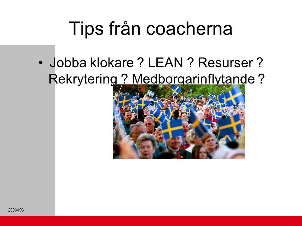 Tips från coacherna Jobba klokare ? LEAN ? Resurser ? Rekrytering ? Medborgarinflytande ? Vad behöver vården ? Vilka grupper