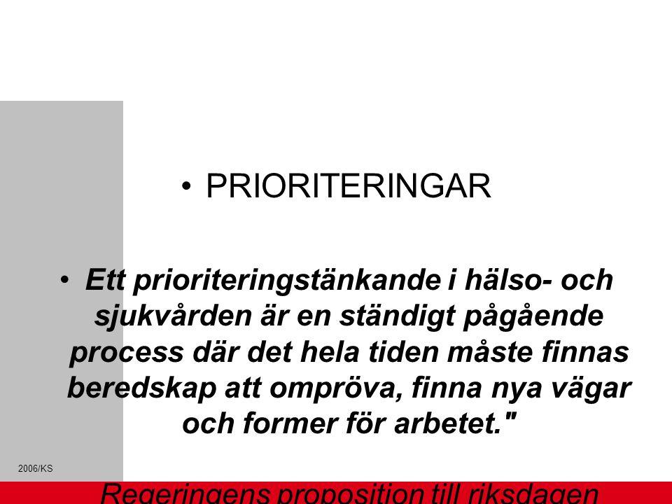 2006/KS PRIORITERINGAR Ett prioriteringstänkande i hälso- och sjukvården är en ständigt pågående process där det hela tiden måste finnas beredskap att ompröva, finna nya vägar och former för arbetet. Regeringens proposition till riksdagen 1996/97:60 Prioriteringar inom hälso- och sjukvården