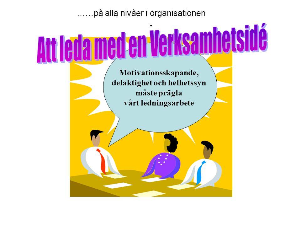 . Motivationsskapande, delaktighet och helhetssyn måste prägla vårt ledningsarbete ……på alla nivåer i organisationen