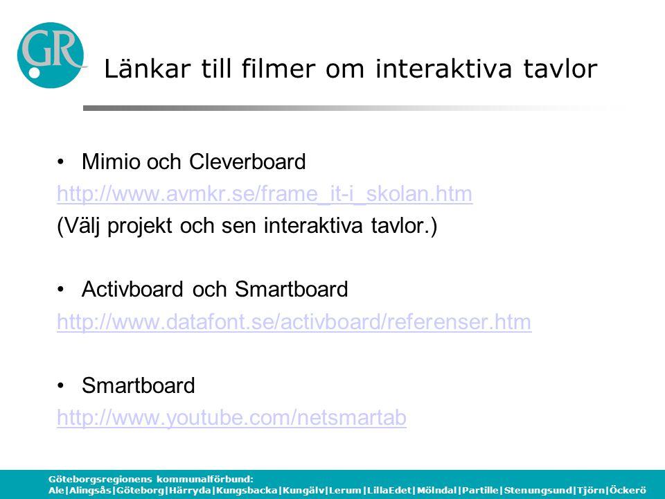 Göteborgsregionens kommunalförbund: Ale|Alingsås|Göteborg|Härryda|Kungsbacka|Kungälv|Lerum|LillaEdet|Mölndal|Partille|Stenungsund|Tjörn|Öckerö Länkar till filmer om interaktiva tavlor Mimio och Cleverboard http://www.avmkr.se/frame_it-i_skolan.htm (Välj projekt och sen interaktiva tavlor.) Activboard och Smartboard http://www.datafont.se/activboard/referenser.htm Smartboard http://www.youtube.com/netsmartab