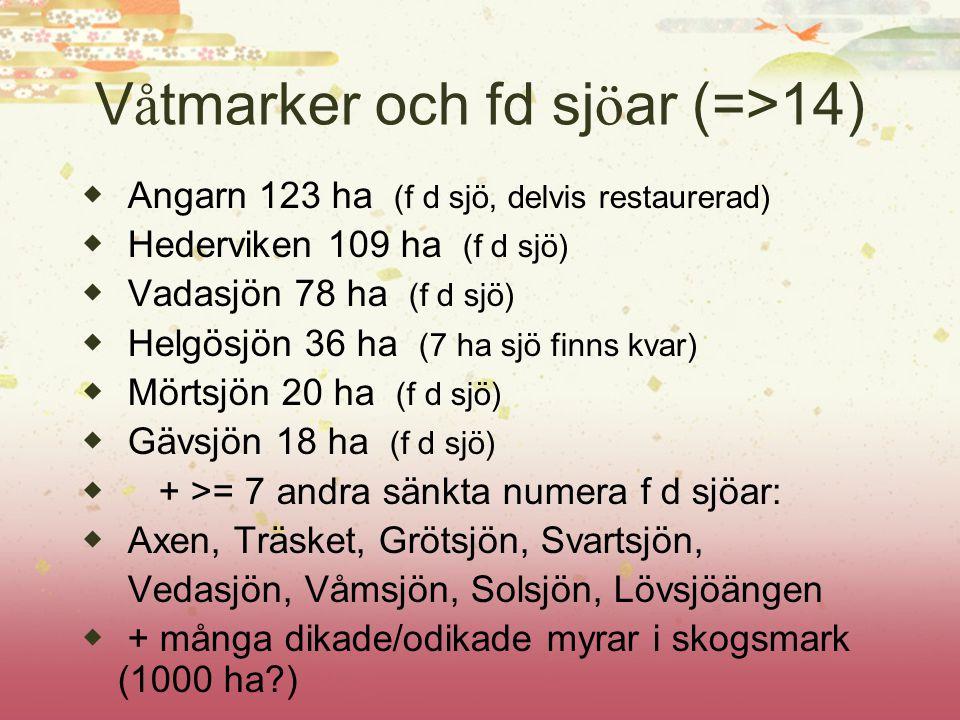 V å tmarker och fd sj ö ar (=>14) ◆ Angarn 123 ha (f d sjö, delvis restaurerad) ◆ Hederviken 109 ha (f d sjö) ◆ Vadasjön 78 ha (f d sjö) ◆ Helgösjön 3