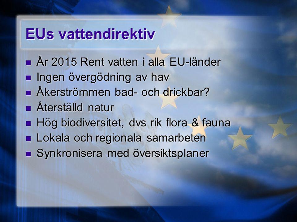 EUs vattendirektiv År 2015 Rent vatten i alla EU-länder Ingen övergödning av hav Åkerströmmen bad- och drickbar? Återställd natur Hög biodiversitet, d