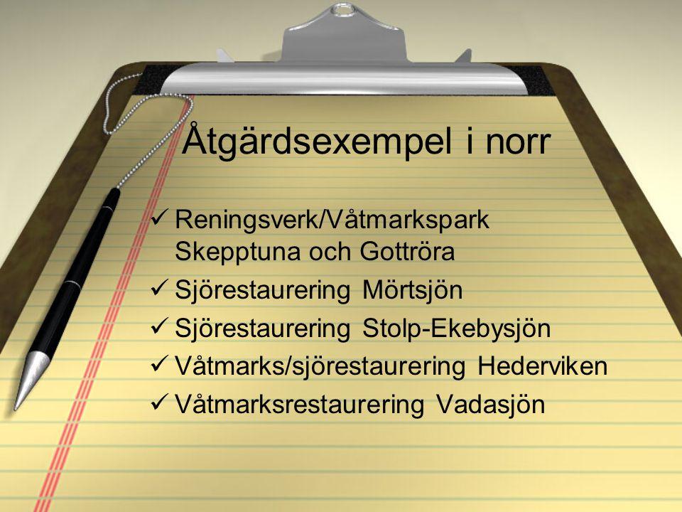 Åtgärdsexempel i norr Reningsverk/Våtmarkspark Skepptuna och Gottröra Sjörestaurering Mörtsjön Sjörestaurering Stolp-Ekebysjön Våtmarks/sjörestaurerin