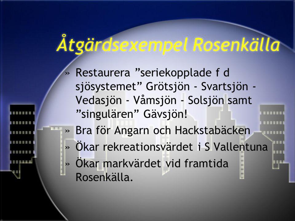 """Åtgärdsexempel Rosenkälla »Restaurera """"seriekopplade f d sjösystemet"""" Grötsjön - Svartsjön - Vedasjön - Våmsjön - Solsjön samt """"singulären"""" Gävsjön! »"""