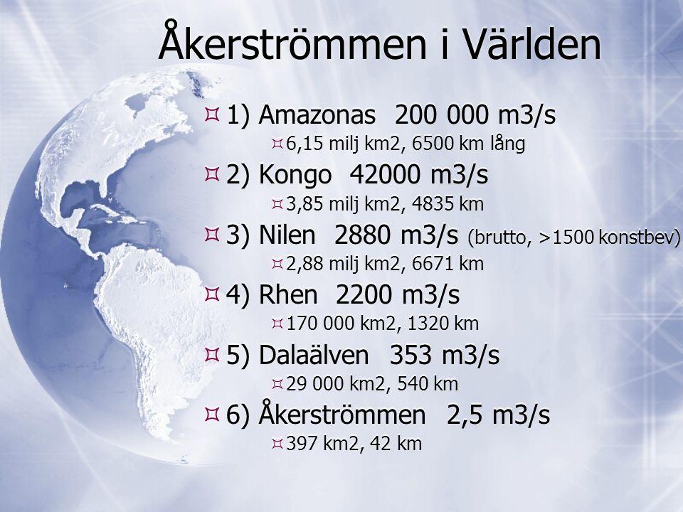 Åkerströmmen i Världen  1) Amazonas 200 000 m3/s  6,15 milj km2, 6500 km lång  2) Kongo 42000 m3/s  3,85 milj km2, 4835 km  3) Nilen 2880 m3/s (b