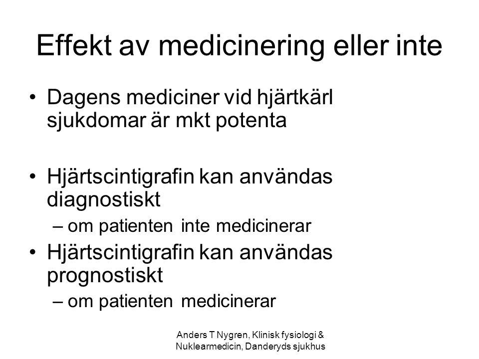 Anders T Nygren, Klinisk fysiologi & Nuklearmedicin, Danderyds sjukhus Effekt av medicinering eller inte Dagens mediciner vid hjärtkärl sjukdomar är m