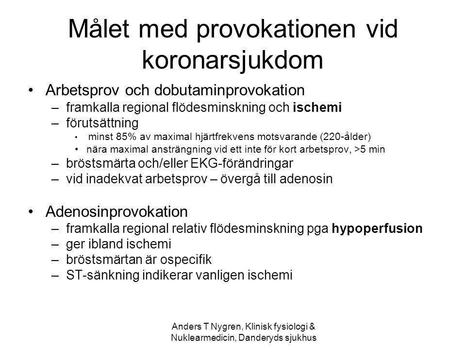 Anders T Nygren, Klinisk fysiologi & Nuklearmedicin, Danderyds sjukhus Målet med provokationen vid koronarsjukdom Arbetsprov och dobutaminprovokation