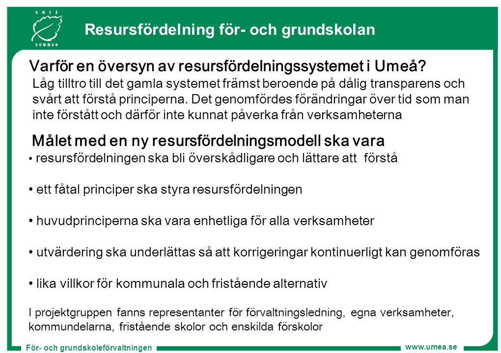 För- och grundskoleförvaltningen www.umea.se Resursfördelning för- och grundskolan Målet med en ny resursfördelningsmodell ska vara resursfördelningen