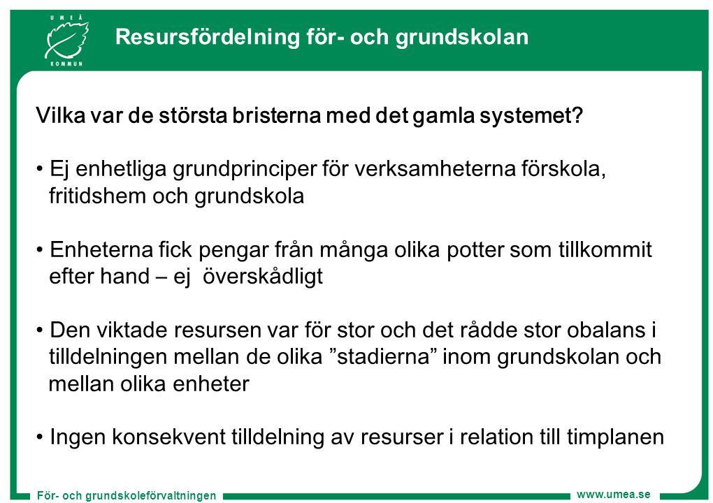 För- och grundskoleförvaltningen www.umea.se Vilka var de största bristerna med det gamla systemet? Ej enhetliga grundprinciper för verksamheterna för