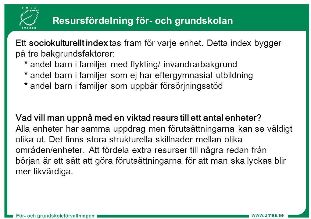 För- och grundskoleförvaltningen www.umea.se Resursfördelning för- och grundskolan Ett sociokulturellt index tas fram för varje enhet. Detta index byg
