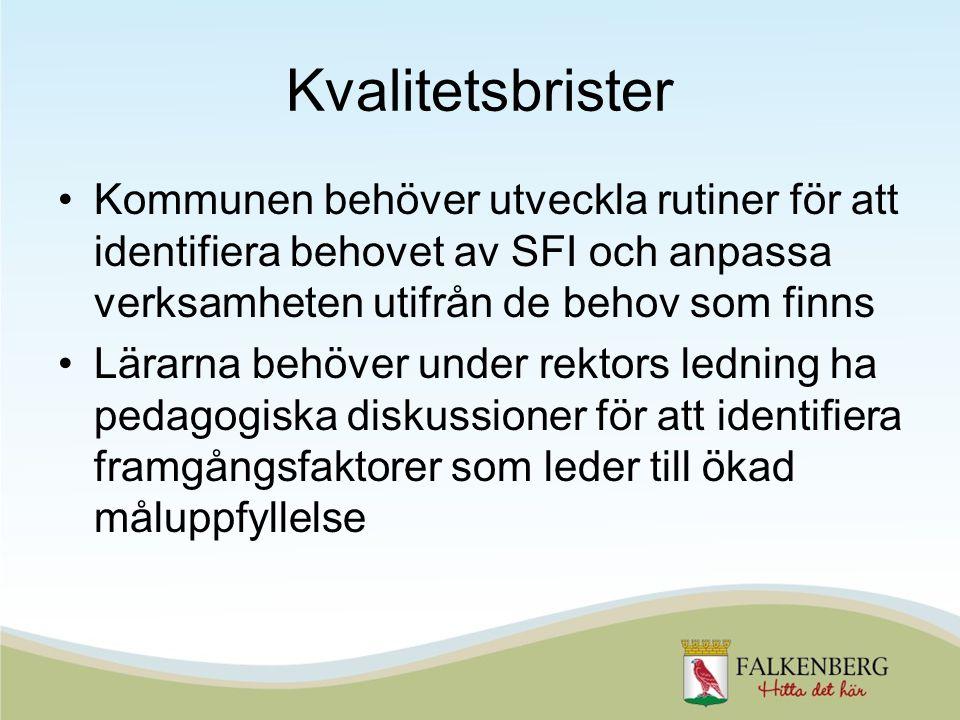 Kvalitetsbrister Kommunen behöver utveckla rutiner för att identifiera behovet av SFI och anpassa verksamheten utifrån de behov som finns Lärarna behö