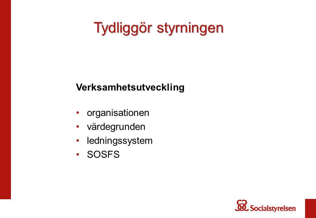 Verksamhetsutveckling organisationen värdegrunden ledningssystem SOSFS Tydliggör styrningen