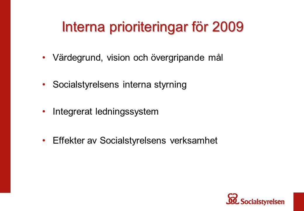 Interna prioriteringar för 2009 Värdegrund, vision och övergripande mål Socialstyrelsens interna styrning Integrerat ledningssystem Effekter av Social