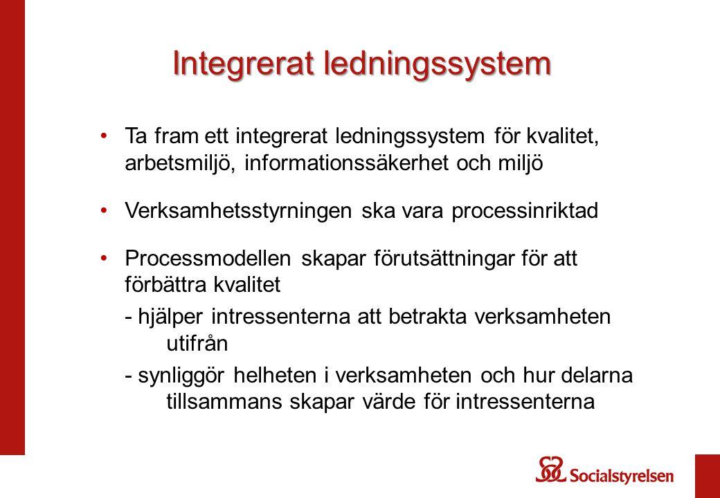 Integrerat ledningssystem Ta fram ett integrerat ledningssystem för kvalitet, arbetsmiljö, informationssäkerhet och miljö Verksamhetsstyrningen ska va