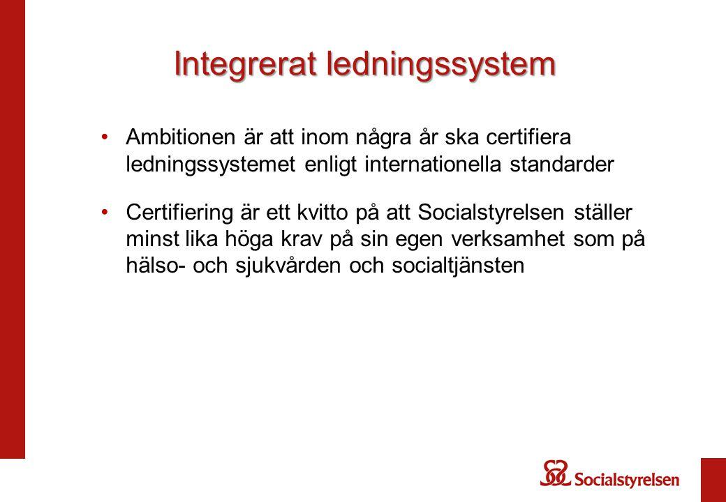 Integrerat ledningssystem Ambitionen är att inom några år ska certifiera ledningssystemet enligt internationella standarder Certifiering är ett kvitto